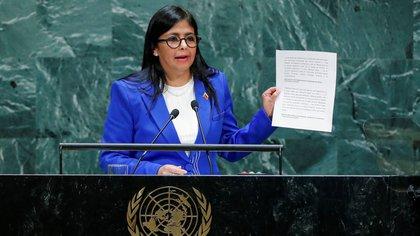 La canciller de Nicolás Maduro, Delcy Rodríguez, denunció en la Asamblea general de la ONU la supuesta presencia de campamentos paramilitares en territorio venezolano para atentar contra el régimen. (Reuters)