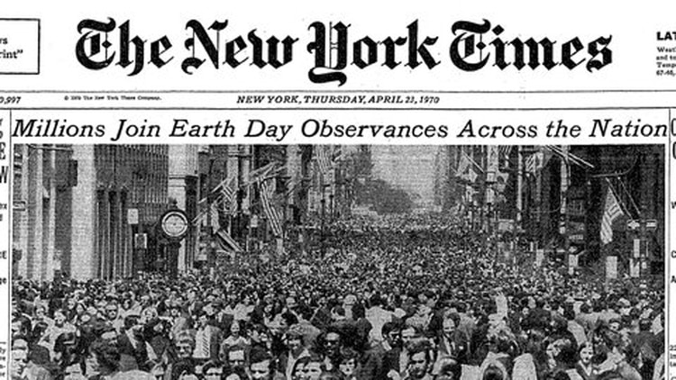 El primer Día de la Tierra en 1970 fue portada del NYTimes