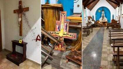 Los mapuches tomaron la iglesia en repudio al desalojo de la lof Winkul Lafken Mapu del predio perteneciente al obispado de San Isidro (Fotos Gonzalo Keogan)