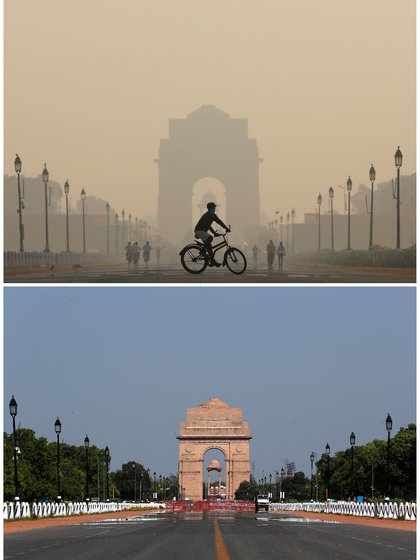 Fotos de un monumento en India antes y durante el confinamiento ilustran como bajaron en cuestión de días los niveles de contaminación, consecuencia de la suspensión de buena parte de las emisiones de carbono. REUTERS/Anushree Fadnavis/Adnan Abidi