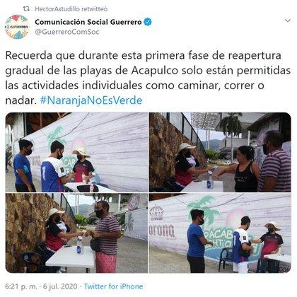Las playas de Acapulco presentaron casos de comercio en la zona costera (Foto: Twitter / @GuerreroComSoc)