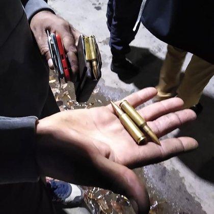 Las vainas encontrados después del tiroteo