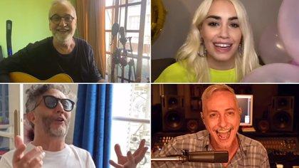 David Lebón, Lali, Fito Páez y Pedro Aznar, en su saludo a Charly