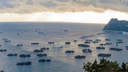 Las flotas chinas ancladas en el puerto de Sadong, Ulleung-do, Corea del Sur debido al mal tiempo en las aguas de Corea del Norte el 6 de diciembre de 2016. Se muestran dos tipos de embarcaciones: arrastreros más cortos y botes más largos y de mayor iluminación. (Oficina del condado de Ulleung-gun)