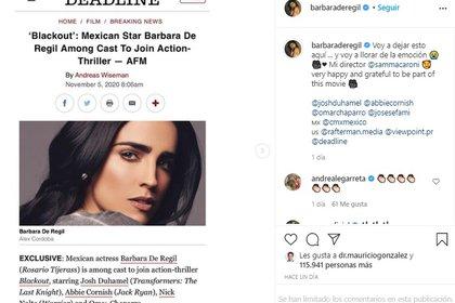 La actriz compartirá set de rodaje con reconocidos actores, como Nick Nolte, quien ha estado nominado en tres ocasiones a los Premios Oscar (Foto: Instagram @BarbaradeRegil)