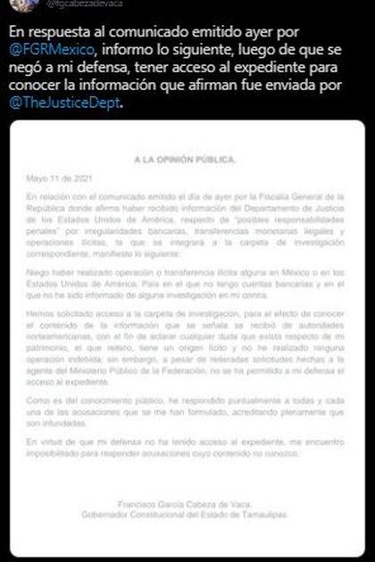 This is how Cabeza de Veca reacted to the social network (Photo: Twitter / @ fgcabezadevaca)