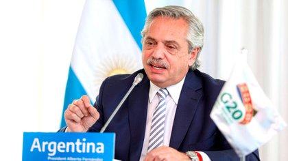 El presidente Alberto Fernández habló durante nueve minutos en la cumbre del G20