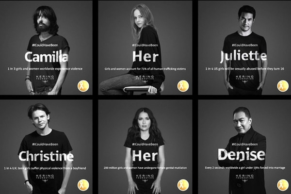 La campaña del grupo Kering busca mostrar que cualquiera, sea hombre o mujer, podría tener la desgracia de ser víctima