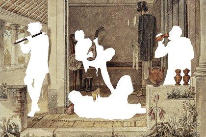 Intervención de Marcelo Masagão sobre acuarelas de Jean Batiste Debret, década de 1830, Brasil