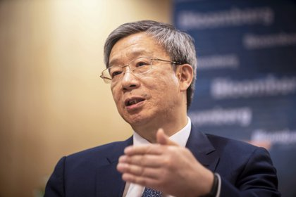 Yi Gang, governor of the People's Bank of China (PBOC), speaks during an interview in Beijing, China, on Friday, June 7, 2019.