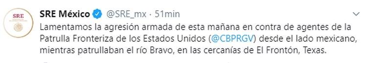 La SRE lamentó la situación y declaró que colaborara con los estadounidenses para dar con los responsables (Foto: Twitter /SRE_mx)