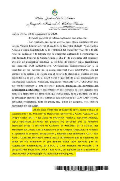 La jueza federal de Caleta Olivia Marta Yañez solicita a Cancillería información sobre las comunicaciones entre los Estados Unidos, Gran Bretaña y Argentina.