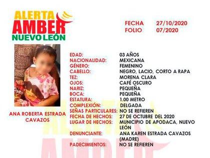 Ana Roberta fue encontrada un día después que reportaron su desaparición (Foto: Twitter@FiscaliaNL)