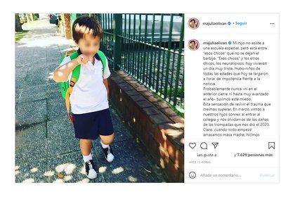 El posteo de María Julia Oliván en su cuenta de Instagram
