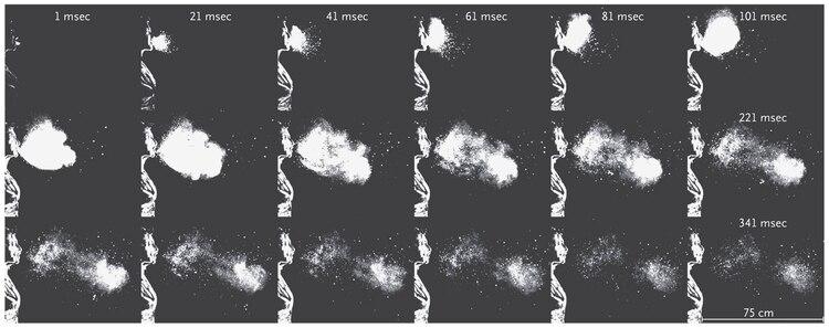 Hay evidencia científica de que las microgotas de un estornudo o de la tos pueden llegar hasta 6 u 8 metros de distancia. Esto reafirma el uso riguroso de barbijos aunque no sean profesionales. (Foto: The New England Journal of Medicine)