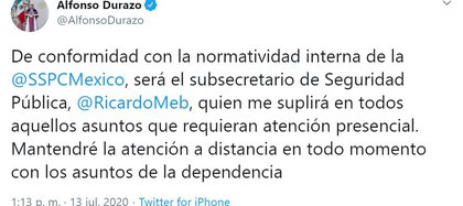 Secretary Alfonsu Durazo explained that Undersecretary Ricardo Mejía will attend in his place (Photo: Twitter / @AlfonsoDurazo)
