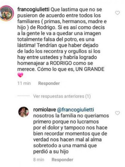 La prima del cantante les respondió a sus seguidores de Instagram