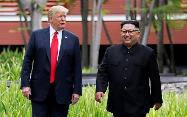 Trump y Kim tras su almuerzo de trabajo (REUTERS/Jonathan Ernst)