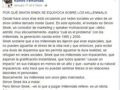 Así comienza el post de Fernández