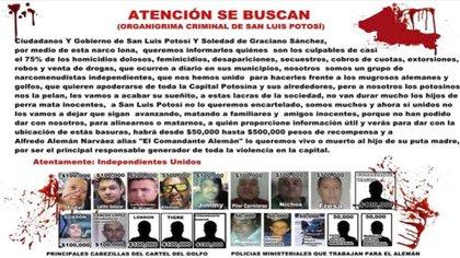En el texto, el grupo afirma que las personas señaladas son responsables del casi 75% de los crímenes cometidos en la ciudad de San Luis Potosí (Foto: Twitter/@vigilantehuaste)