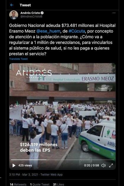 Senador liberal, Andrés Cristo, llamó la atención sobre la deuda del Estado y las EPS con el Hospital Universitario Erasmo Meoz de Cúcuta / (Twitter: @AndresCristoB).