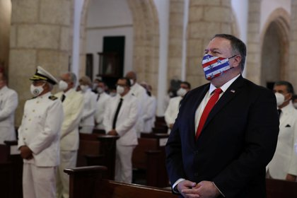 U.S. Secretary of State Mike Pompeo attends a Te Deum as part of the swearing-in ceremony of Dominican Republic's new President Luis Abinader in Santo Domingo, Dominican Republic August 16, 2020. REUTERS/Ricardo Rojas