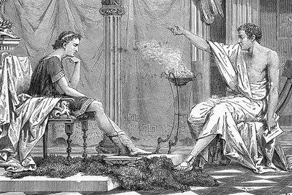 Aristóteles y su alumno Alejandro. La imagen de alrededor del 1800. (Corbis)