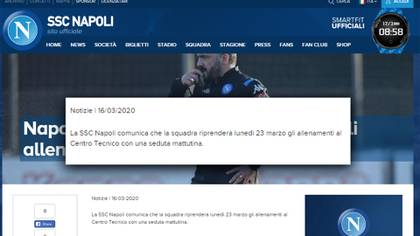 El comunicado del Napoli que confirma el regreso a la actividad de su plantel profesional