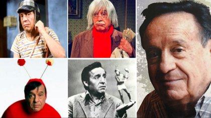 Roberto Gómez Bolaños y sus grandes personajes de televisión (Foto: Especial)