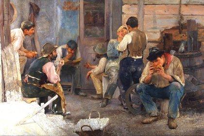 """La hora del almuerzo"" (1903) de Pio Collivadino"