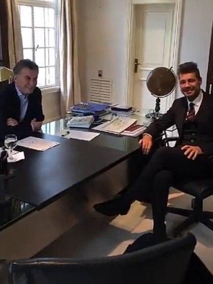 El encuentro entre Mauricio Macri y Marcelo Tinelli publicado en Snapchat