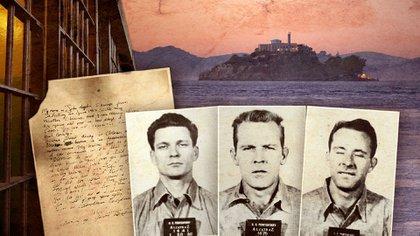 Los fugitivos Frank Morris, John Anglin y Clarence Anglin. Detrás, la enigmática carta y Alcatraz, desde donde escaparon