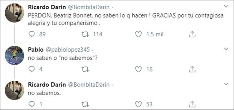 El mensaje de Ricardo Darín por Beatriz Bonnet (Twitter)