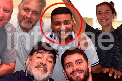 "Banda íntima: ""Charly"" con Maradona, Mariano Israelit, Jana y Diego junior."