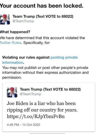 Hubo cuentas bloqueadas por denunciar la censura al enlace hacia el New York Post y el e-mail potencialmente incriminatorio para el candidato demócrata a la presidencia de EEUU.