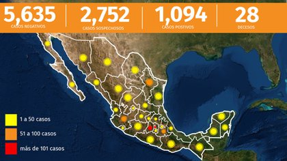 El avance del coronavirus a las 7pm del 30-03-2020 (Foto: Infobae)