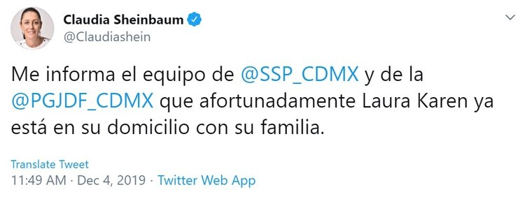 Claudia Sheinbaum anunció que Karen Espíndola ya se encuentra en su casa (Foto: Twitter)