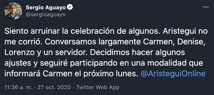 Sergio Aguayo aclaró la situación a través de su cuenta de Twitter (Foto: Twitter/@sergioaguayo)