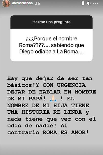 Dalma Maradona habló sobre el nombre de su hija y el supuesto malestar que tenía Diego Maradona con la elección, según contó su abogado Matías Morla (Foto: Instagram @dalmaradona)