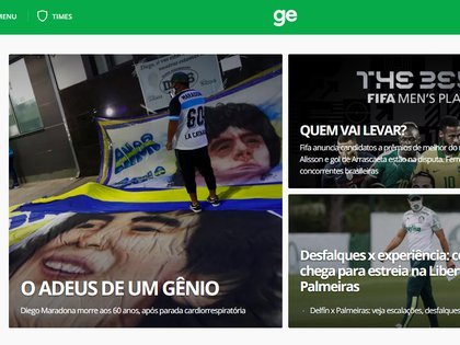 """""""Adiós a un genio"""", Globoesporte, Brasil"""