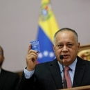 Venezuela's National Constituent Assembly President Diosdado Cabello holds Venezuela's constitution during a news conference in Caracas, Venezuela January 8, 2020. REUTERS/Manaure Quintero