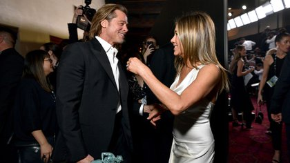 Brad Pitt y Jennifer Aniston fueron fotografiados por última vez durante los SAG Awards en 2020 (AFP)