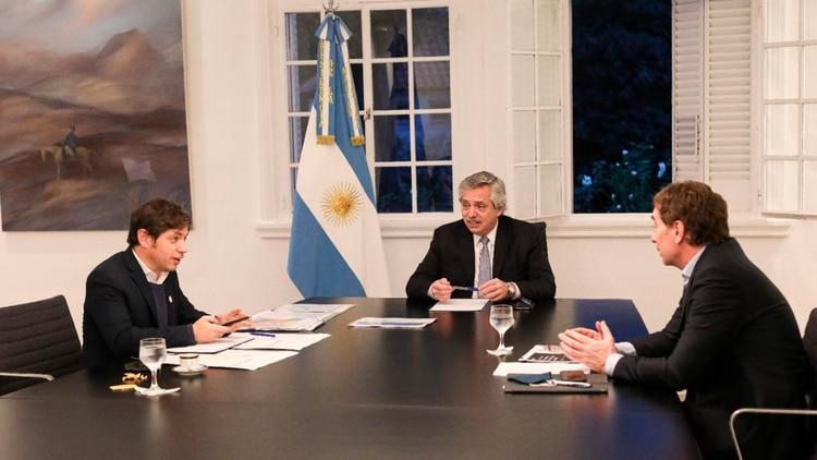 Alberto Fernández reunido con Axel Kicillof y Diego Santilli