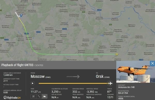 El avión voló apenas dos minutos antes de desaparecer de los radares (Flightradar24)