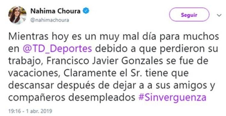 La acusación de Choura, que después eliminó de su perfil (Foto: Twitter @nahimachoura)