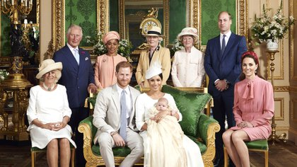 This is the official christening photo released by the Duke and Duchess of Sussex on Saturday, July 6, 2019, showing Britain's Prince Harry, front row, second left and Meghan, the Duchess of Sussex with their son, Archie. Camilla, the Duchess of Cornwall sits at left. Back row from left, Prince Charles, Doria Ragland, Lady Jane Fellowes, Lady Sarah McCorquodale, Prince William and Kate, the Duchess of Cambridge, in the Green Drawing Room at Windsor Castle, Windsor, England. (Chris Allerton/©SussexRoyal via AP)