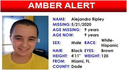 El alerta cuando se denunció el secuestro (Foto: Amber Alert Florida)