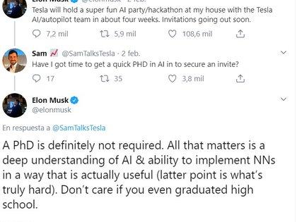 Estas fueron las respuestas con las que Musk dio a conocer que el grado académico no era un requisito para su convocatoria. (Foto: Captura de pantalla)