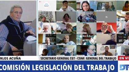 Carlos Acuña, de la CGT, en la reunión de comisión de Diputados para hablar sobre el teletrabajo