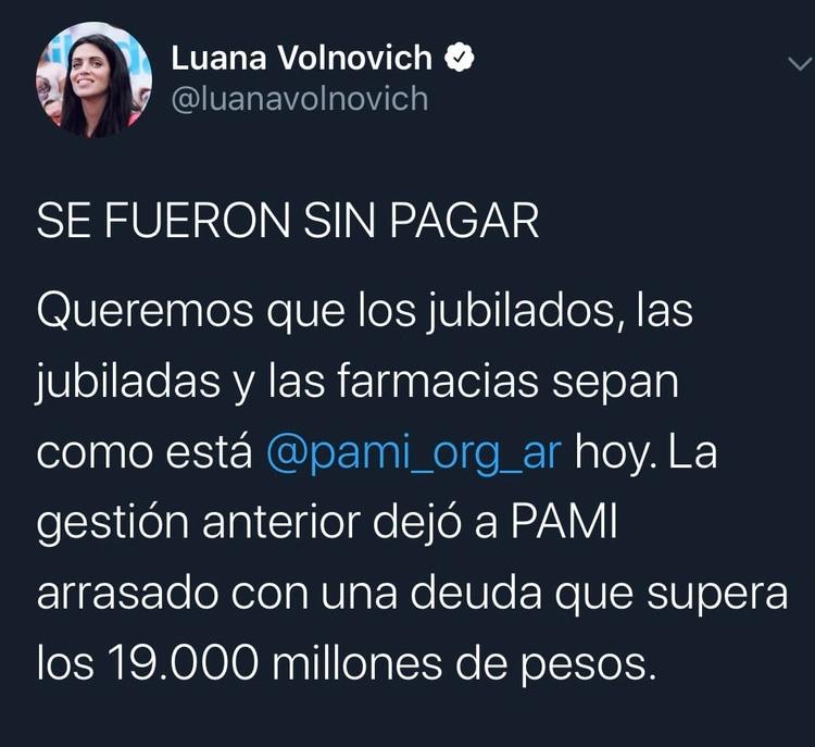Luana Volnovich aseguró que recibió una deuda de 19 mil millones de pesos por parte de la gestión anterior.